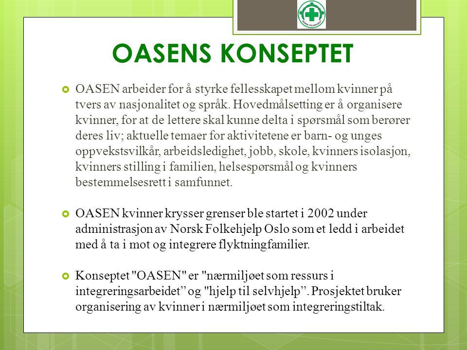 OASENS KONSEPTET  OASEN arbeider for å styrke fellesskapet mellom kvinner på tvers av nasjonalitet og språk. Hovedmålsetting er å organisere kvinner,