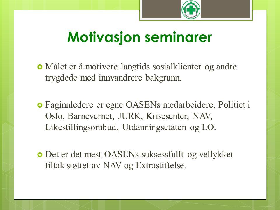 Motivasjon seminarer  Målet er å motivere langtids sosialklienter og andre trygdede med innvandrere bakgrunn.  Faginnledere er egne OASENs medarbeid
