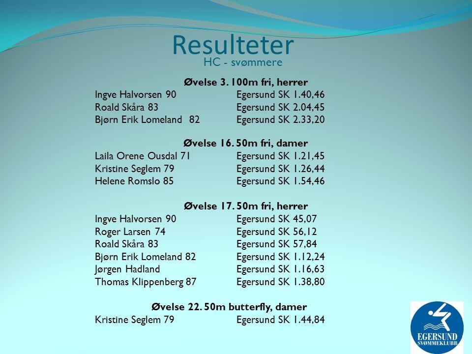 Resulteter HC - svømmere Øvelse 3.