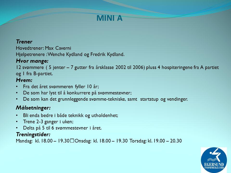 MINI A Trener Hovedtrener: Max Caverni Hjelpetrenere : Wenche Kydland og Fredrik Kydland.