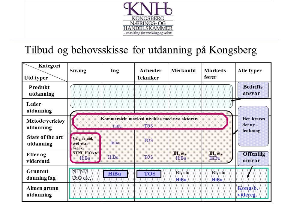 Tilbud og behovsskisse for utdanning på Kongsberg Grunnut- danning fag Etter og videreutd State of the art utdanning Metode/verktøy utdanning Leder- u