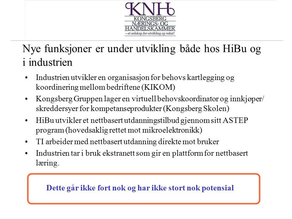 Nye funksjoner er under utvikling både hos HiBu og i industrien Industrien utvikler en organisasjon for behovs kartlegging og koordinering mellom bedr