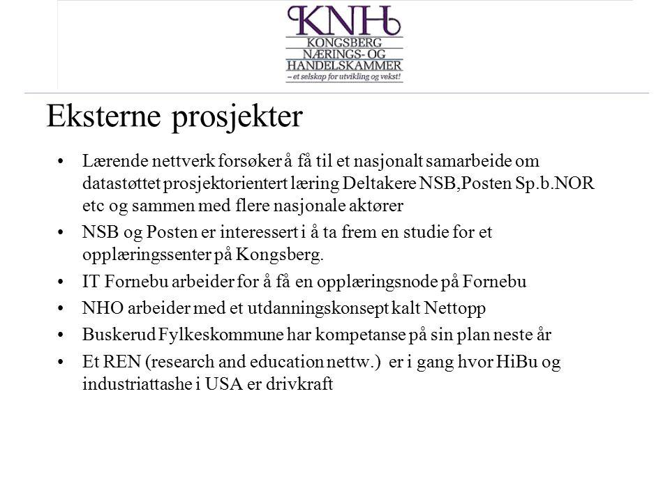 Eksterne prosjekter Lærende nettverk forsøker å få til et nasjonalt samarbeide om datastøttet prosjektorientert læring Deltakere NSB,Posten Sp.b.NOR e