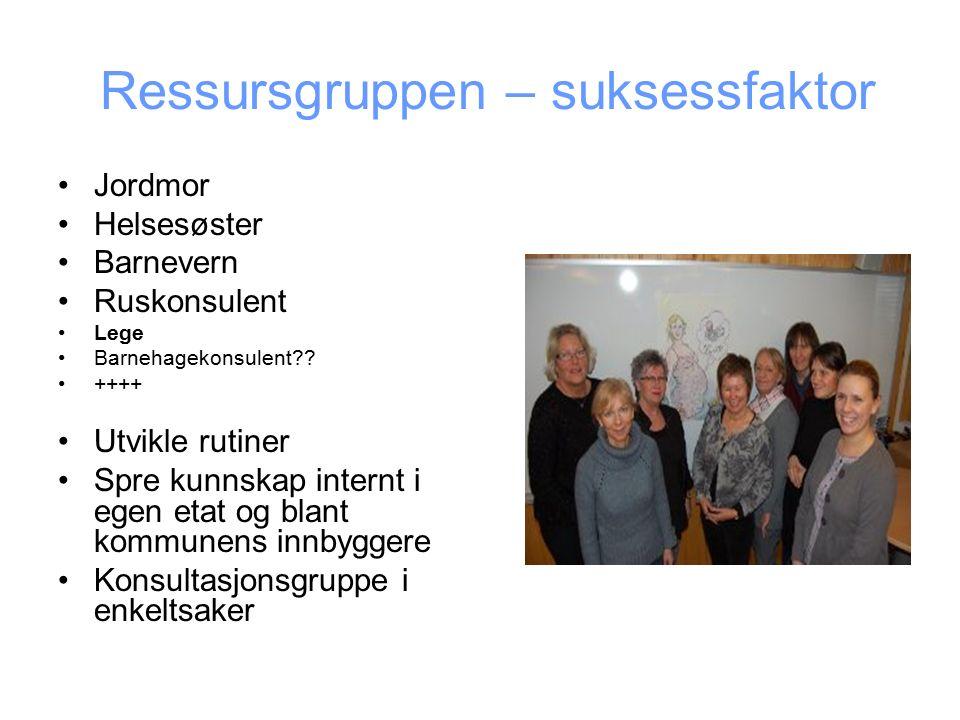 Ressursgruppen – suksessfaktor Jordmor Helsesøster Barnevern Ruskonsulent Lege Barnehagekonsulent .