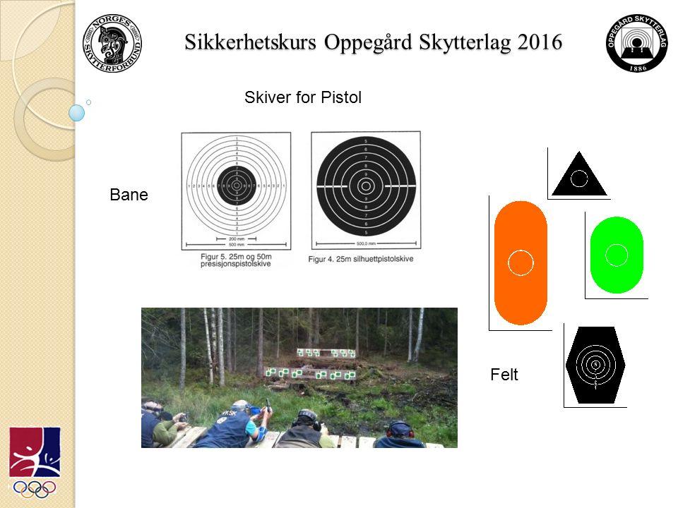 Sikkerhetskurs Oppegård Skytterlag 2016 Skiver for Pistol Bane Felt