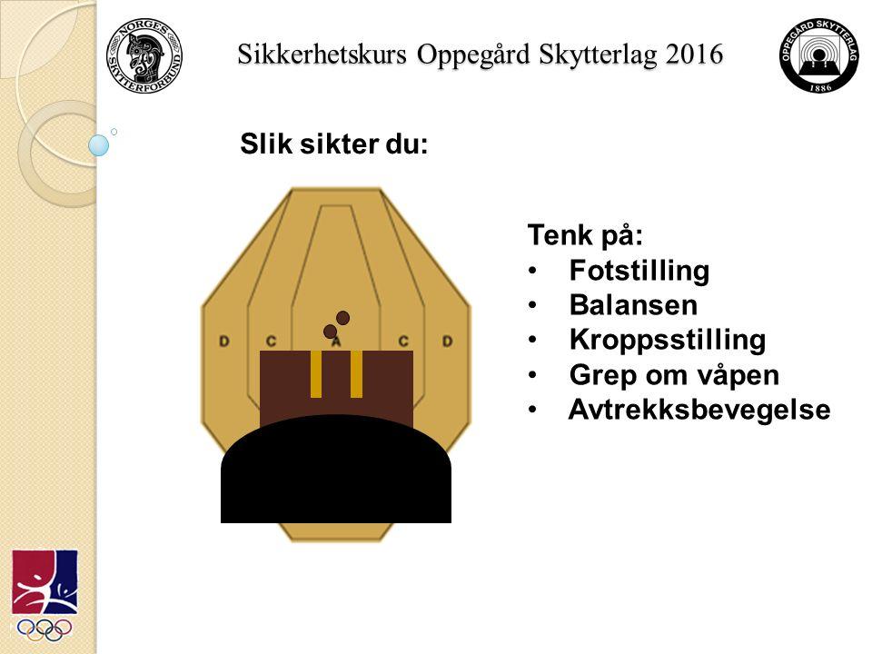 Sikkerhetskurs Oppegård Skytterlag 2016 Slik sikter du: Tenk på: Fotstilling Balansen Kroppsstilling Grep om våpen Avtrekksbevegelse