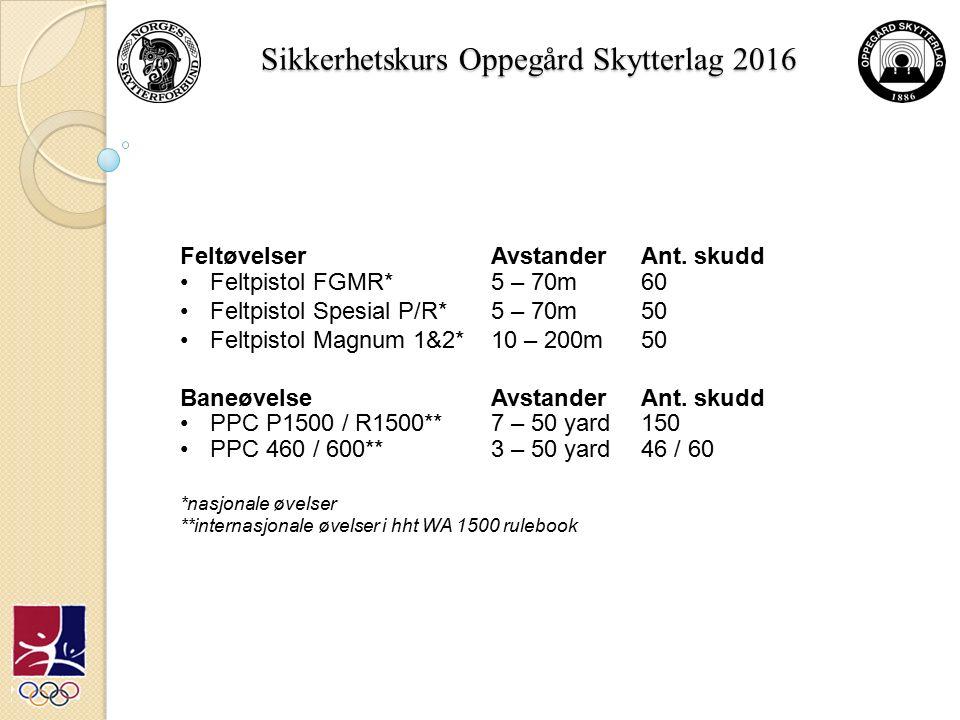 Sikkerhetskurs Oppegård Skytterlag 2016 FeltøvelserAvstander Ant.