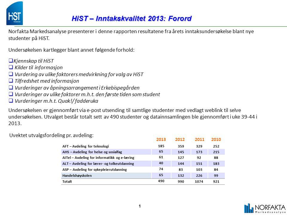 1 HiST – Inntakskvalitet 2013: Forord Norfakta Markedsanalyse presenterer i denne rapporten resultatene fra årets inntaksundersøkelse blant nye studenter på HiST.