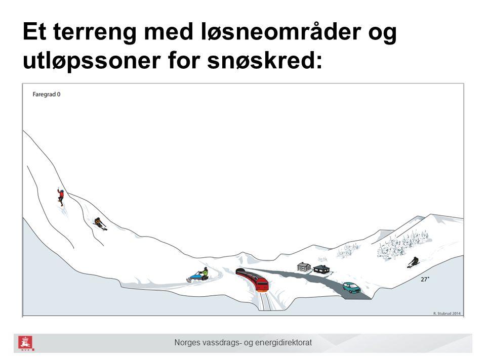 Norges vassdrags- og energidirektorat Et terreng med løsneområder og utløpssoner for snøskred: