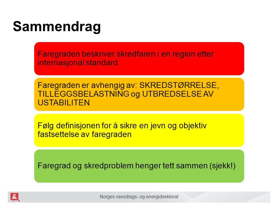 Norges vassdrags- og energidirektorat Sammendrag Faregraden beskriver skredfaren i en region etter internasjonal standard Faregraden er avhengig av: SKREDSTØRRELSE, TILLEGGSBELASTNING og UTBREDSELSE AV USTABILITEN Følg definisjonen for å sikre en jevn og objektiv fastsettelse av faregraden Faregrad og skredproblem henger tett sammen (sjekk!)