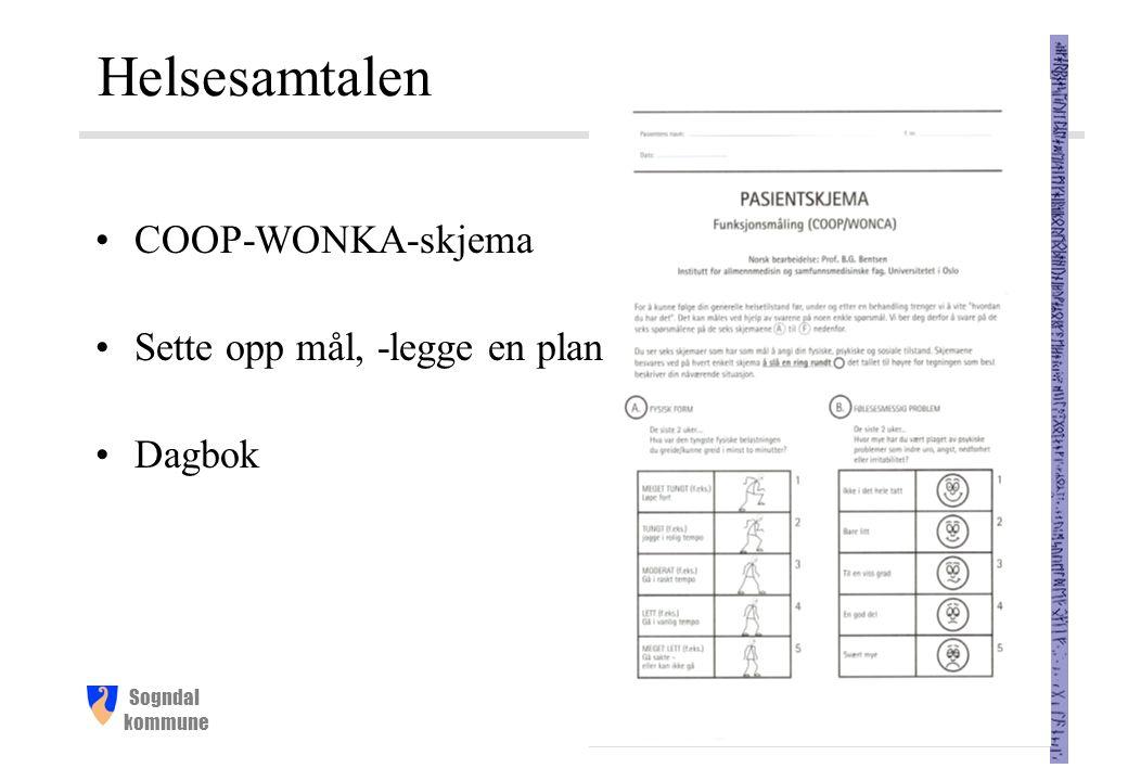 Sogndal kommune Helsesamtalen COOP-WONKA-skjema Sette opp mål, -legge en plan Dagbok