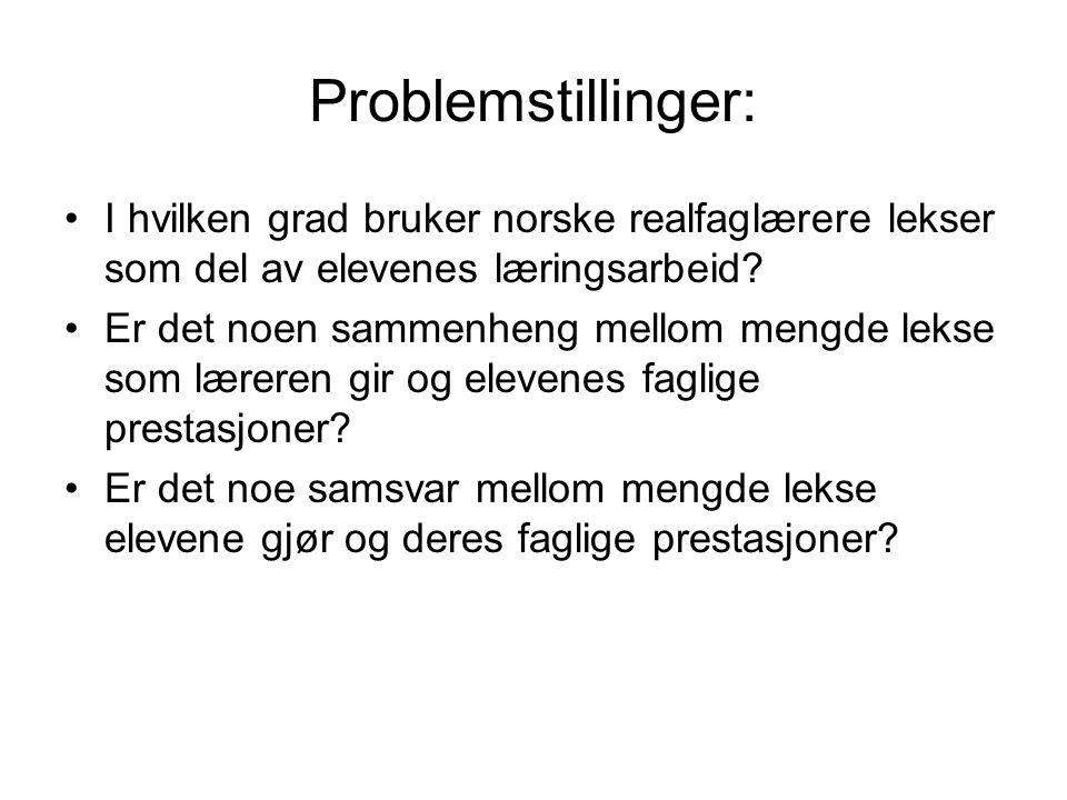 Problemstillinger: I hvilken grad bruker norske realfaglærere lekser som del av elevenes læringsarbeid.