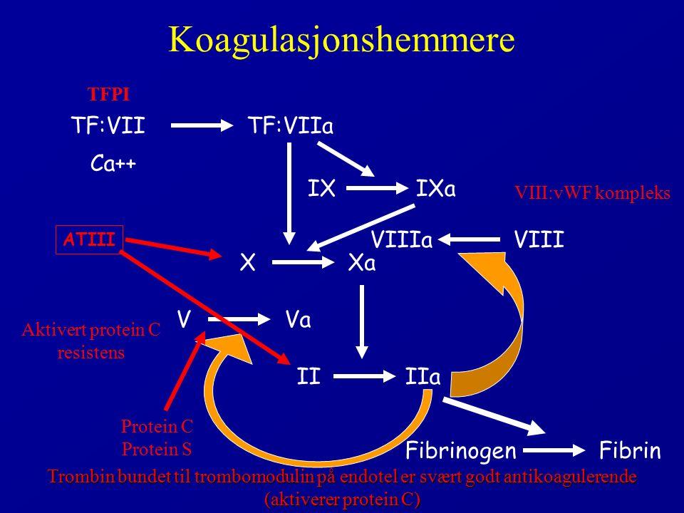 Koagulasjonshemmere XXa IXIXa IIIIa TF:VIITF:VIIa Ca++ VVa VIIIaVIII FibrinogenFibrin ATIII Protein C Protein S Trombin bundet til trombomodulin på endotel er svært godt antikoagulerende (aktiverer protein C) Aktivert protein C resistens VIII:vWF kompleks TFPI