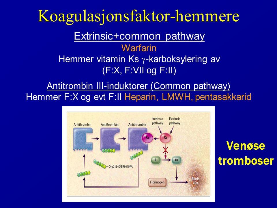 Koagulasjonsfaktor-hemmere Antitrombin III-induktorer (Common pathway) Hemmer F:X og evt F:II Heparin, LMWH, pentasakkarid Extrinsic+common pathway Warfarin Hemmer vitamin Ks  -karboksylering av (F:X, F:VII og F:II) Venøse tromboser
