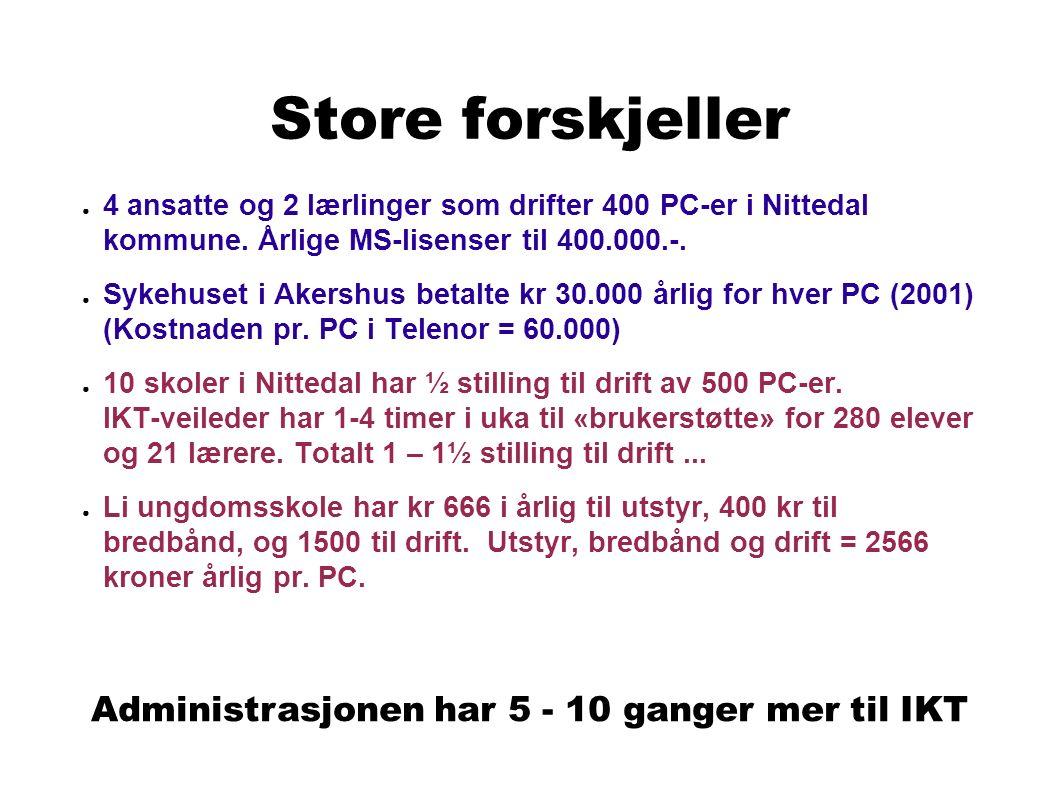 Store forskjeller ● 4 ansatte og 2 lærlinger som drifter 400 PC-er i Nittedal kommune.