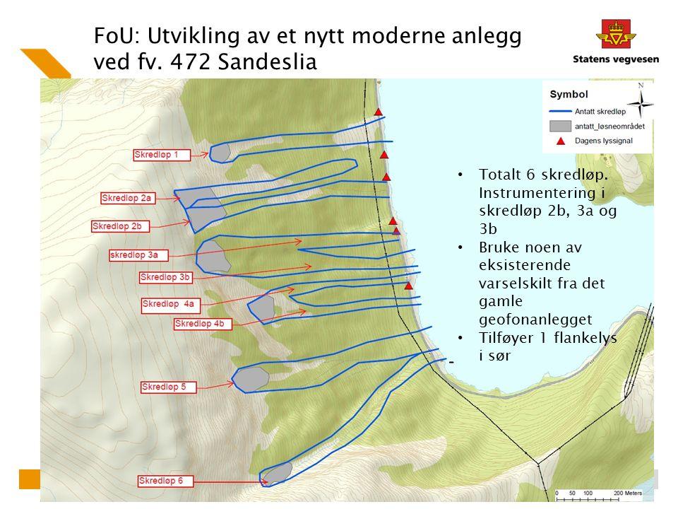 FoU: Utvikling av et nytt moderne anlegg ved fv. 472 Sandeslia Totalt 6 skredløp. Instrumentering i skredløp 2b, 3a og 3b Bruke noen av eksisterende v