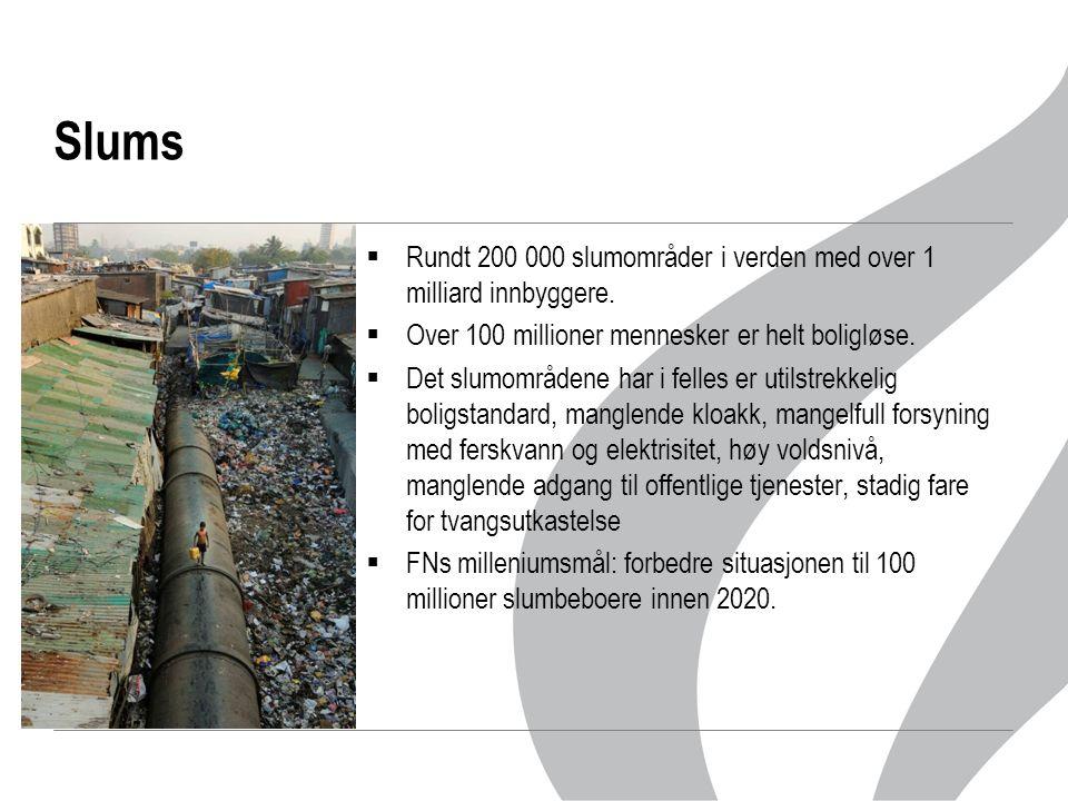 Slums  Rundt 200 000 slumområder i verden med over 1 milliard innbyggere.