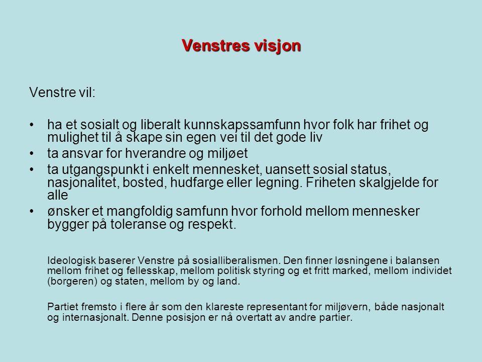 Venstres visjon Venstre vil: ha et sosialt og liberalt kunnskapssamfunn hvor folk har frihet og mulighet til å skape sin egen vei til det gode liv ta ansvar for hverandre og miljøet ta utgangspunkt i enkelt mennesket, uansett sosial status, nasjonalitet, bosted, hudfarge eller legning.