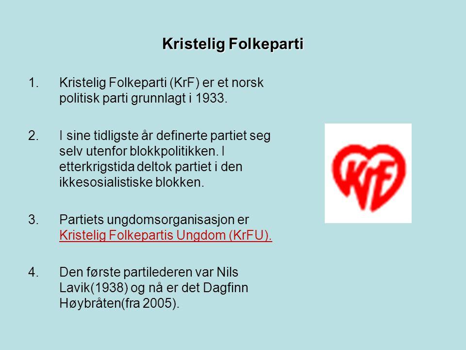 Kristelig Folkeparti 1.Kristelig Folkeparti (KrF) er et norsk politisk parti grunnlagt i 1933.