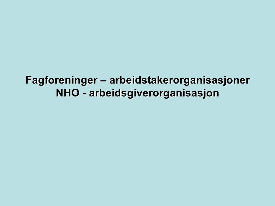 Fagforeninger – arbeidstakerorganisasjoner NHO - arbeidsgiverorganisasjon