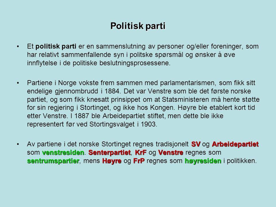 Politisk parti Et politisk parti er en sammenslutning av personer og/eller foreninger, som har relativt sammenfallende syn i politske spørsmål og ønsker å øve innflytelse i de politiske beslutningsprosessene.