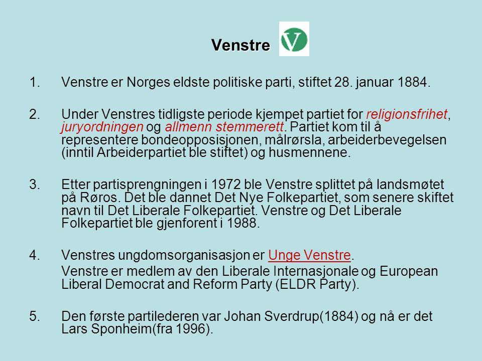 Venstre 1. Venstre er Norges eldste politiske parti, stiftet 28.