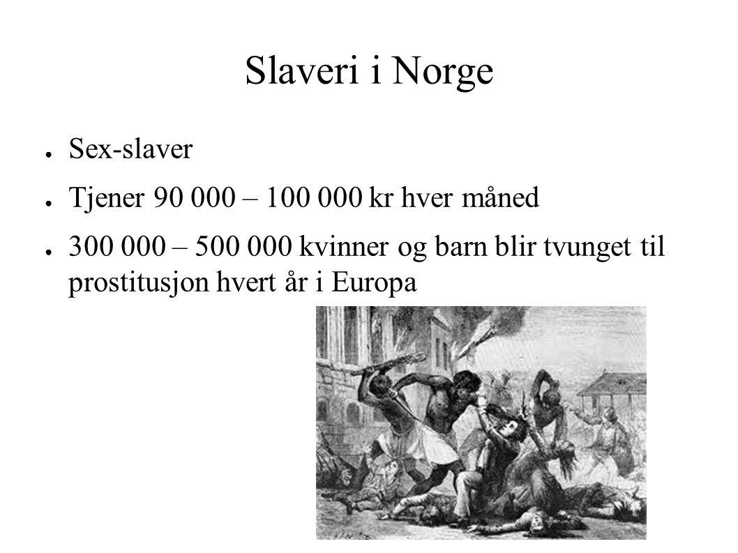 Slaveri i Norge ● Sex-slaver ● Tjener 90 000 – 100 000 kr hver måned ● 300 000 – 500 000 kvinner og barn blir tvunget til prostitusjon hvert år i Europa
