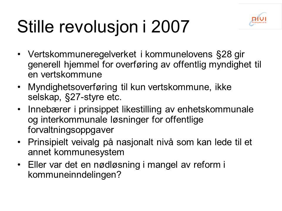 Stille revolusjon i 2007 Vertskommuneregelverket i kommunelovens §28 gir generell hjemmel for overføring av offentlig myndighet til en vertskommune Myndighetsoverføring til kun vertskommune, ikke selskap, §27-styre etc.