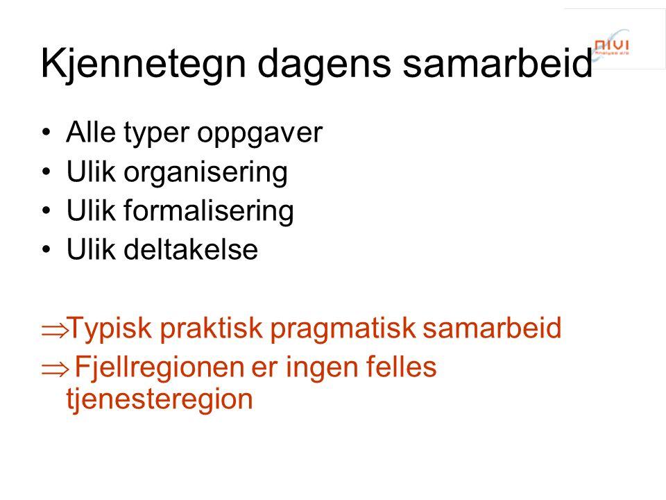 Kjennetegn dagens samarbeid Alle typer oppgaver Ulik organisering Ulik formalisering Ulik deltakelse  Typisk praktisk pragmatisk samarbeid  Fjellregionen er ingen felles tjenesteregion