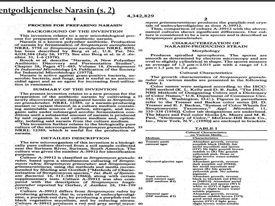 Patentgodkjennelse Narasin I Unites States Patent av 3.