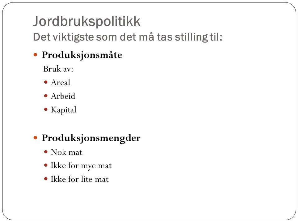 Avtaleinstituttet Hovedavtalen for jordbruket 1950, sist revidert 1992 Formål: Fremme fastlagte mål for jordbruket.