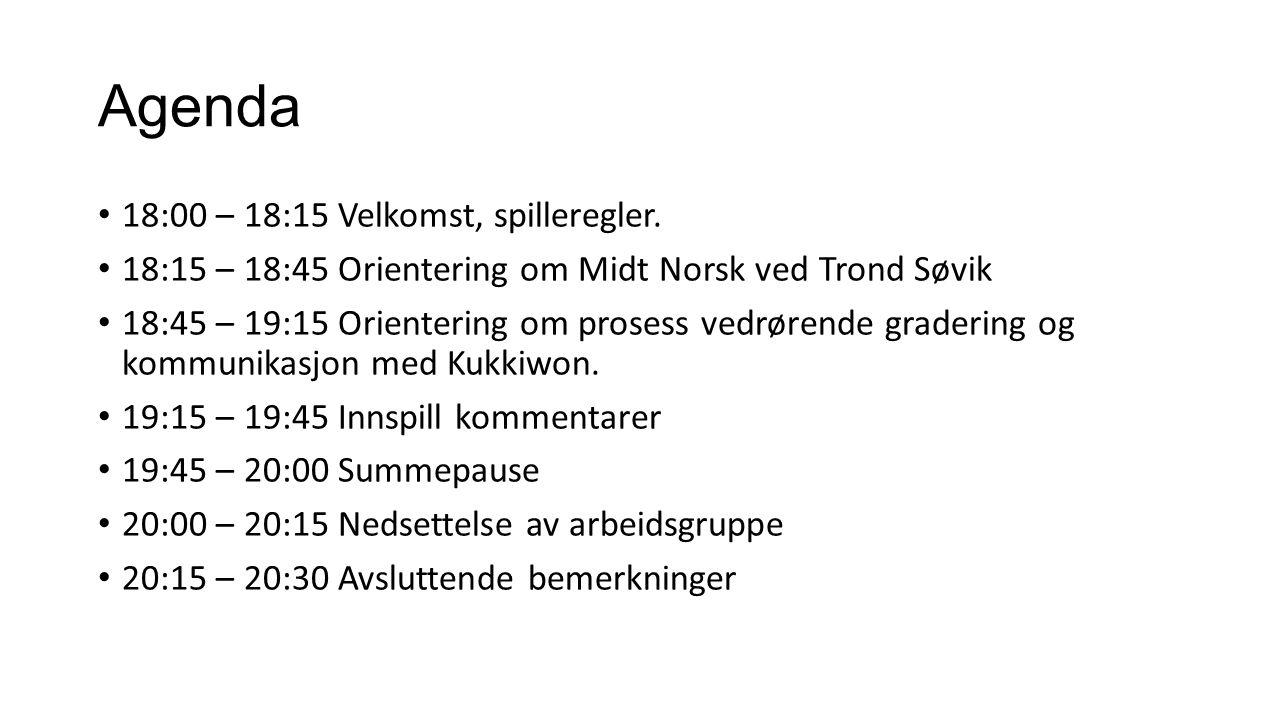 Agenda 18:00 – 18:15 Velkomst, spilleregler.