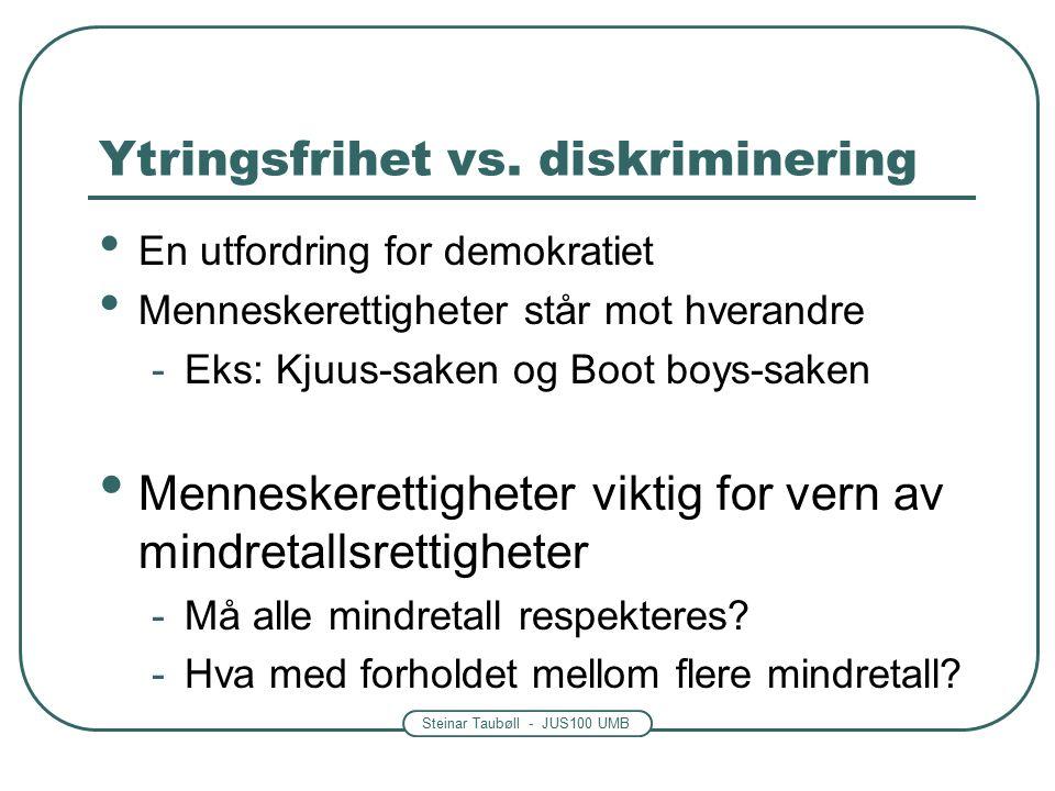 Steinar Taubøll - JUS100 UMB Ytringsfrihet vs.