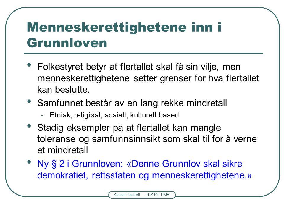 Steinar Taubøll - JUS100 UMB Menneskerettighetene inn i Grunnloven Folkestyret betyr at flertallet skal få sin vilje, men menneskerettighetene setter grenser for hva flertallet kan beslutte.