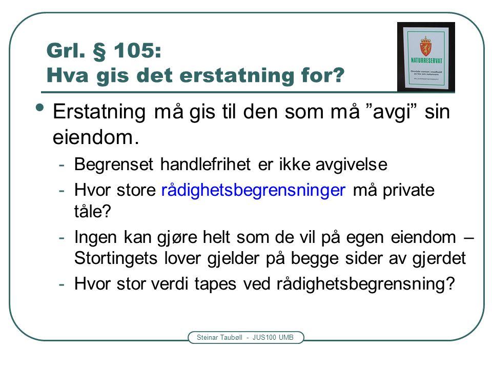 Steinar Taubøll - JUS100 UMB Grl. § 105: Hva gis det erstatning for.