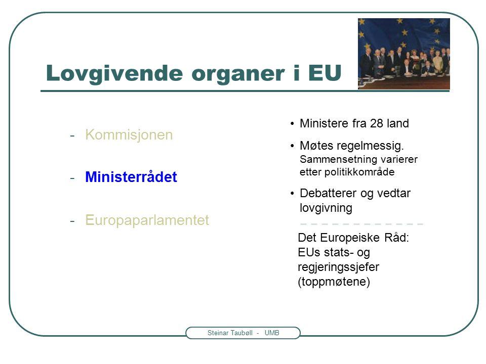 Steinar Taubøll - UMB Det Europeiske Råd: EUs stats- og regjeringssjefer (toppmøtene) Ministere fra 28 land Møtes regelmessig.