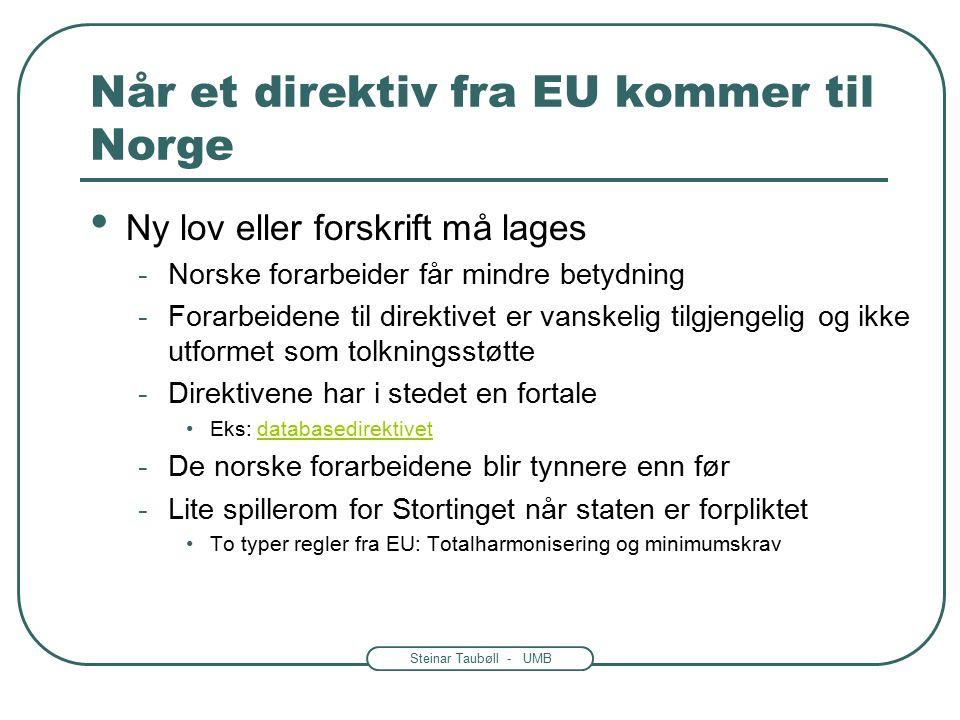 Steinar Taubøll - UMB Når et direktiv fra EU kommer til Norge Ny lov eller forskrift må lages -Norske forarbeider får mindre betydning -Forarbeidene til direktivet er vanskelig tilgjengelig og ikke utformet som tolkningsstøtte -Direktivene har i stedet en fortale Eks: databasedirektivetdatabasedirektivet -De norske forarbeidene blir tynnere enn før -Lite spillerom for Stortinget når staten er forpliktet To typer regler fra EU: Totalharmonisering og minimumskrav