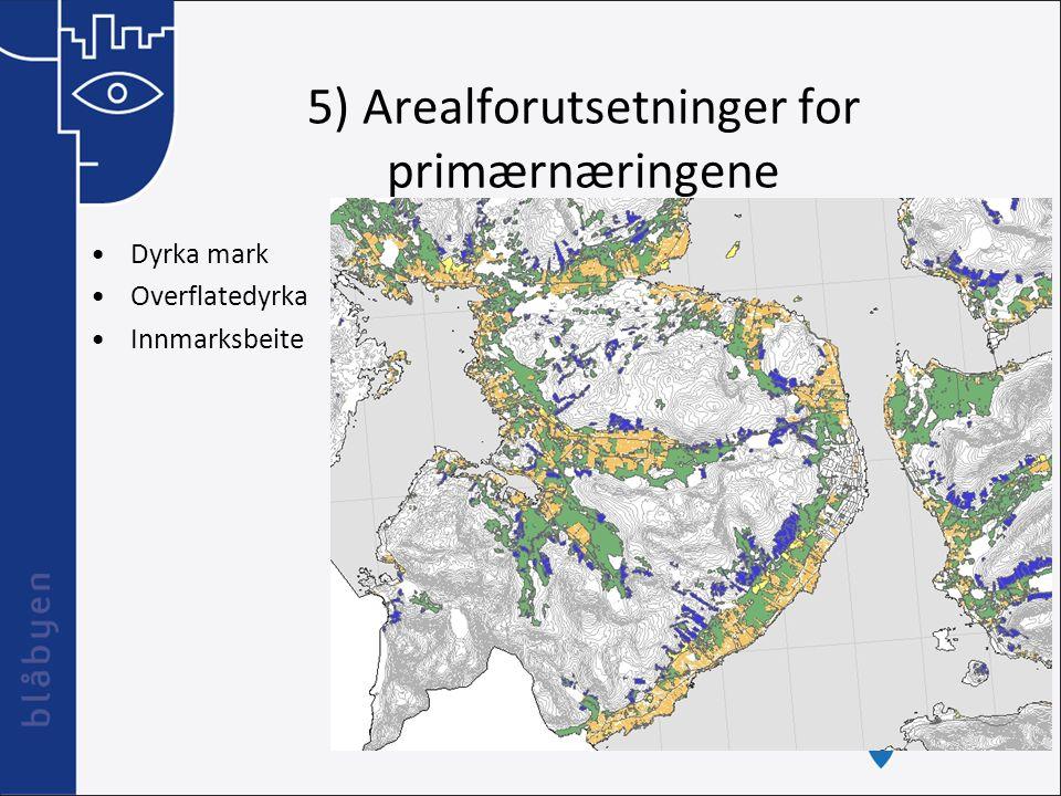 5) Arealforutsetninger for primærnæringene Dyrka mark Overflatedyrka Innmarksbeite