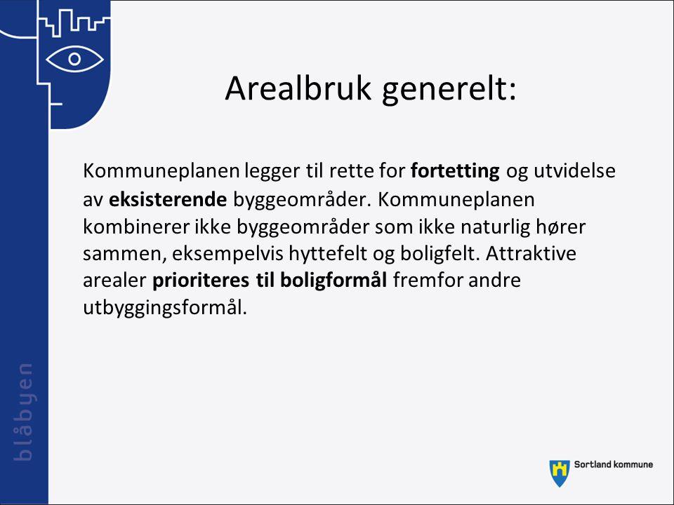 Arealbruk generelt: Kommuneplanen legger til rette for fortetting og utvidelse av eksisterende byggeområder. Kommuneplanen kombinerer ikke byggeområde