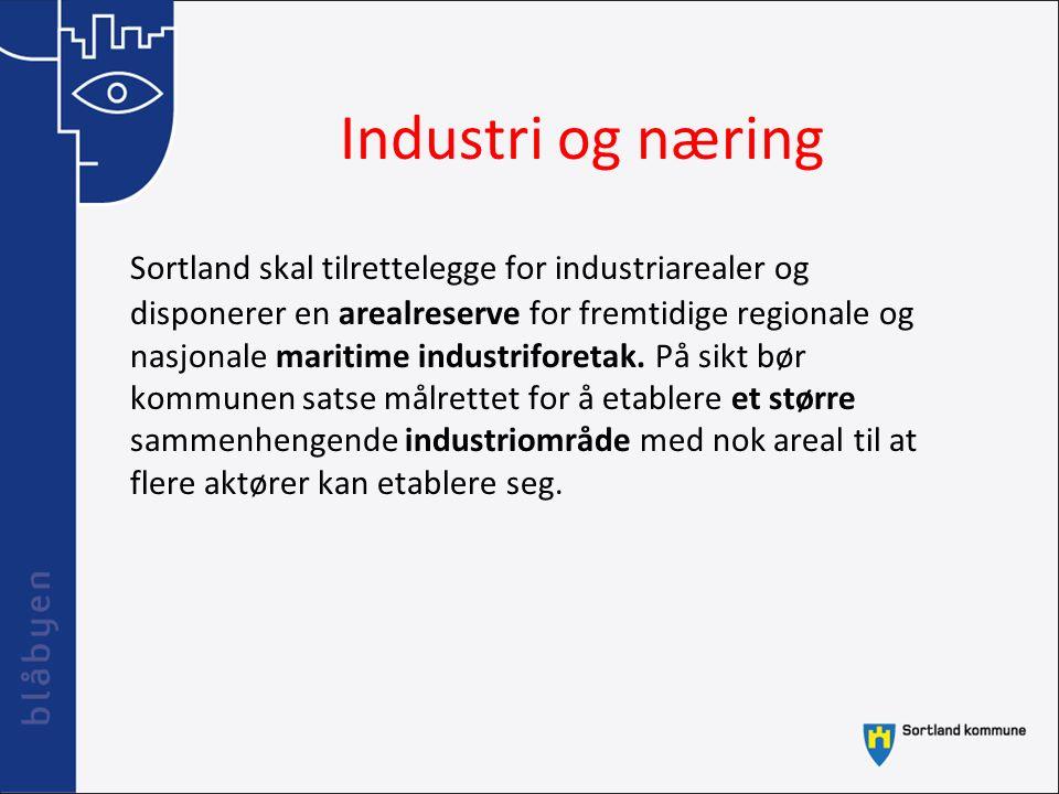Industri og næring Sortland skal tilrettelegge for industriarealer og disponerer en arealreserve for fremtidige regionale og nasjonale maritime indust