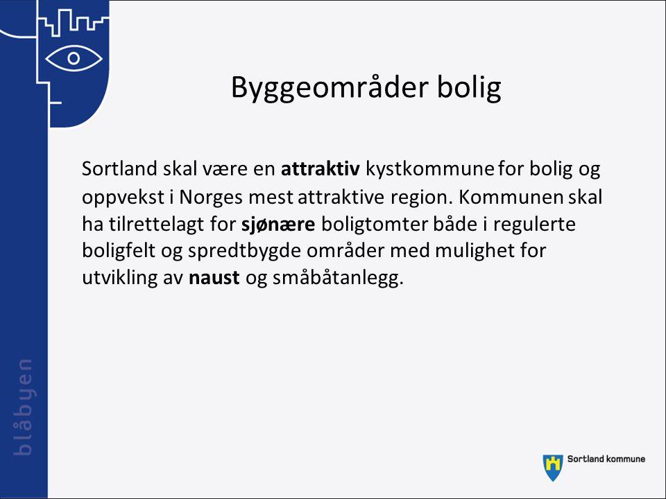 Byggeområder bolig Sortland skal være en attraktiv kystkommune for bolig og oppvekst i Norges mest attraktive region. Kommunen skal ha tilrettelagt fo