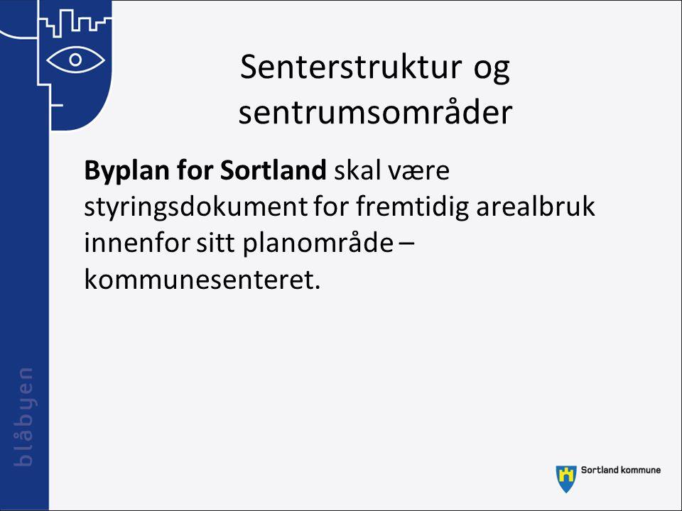 Senterstruktur og sentrumsområder Byplan for Sortland skal være styringsdokument for fremtidig arealbruk innenfor sitt planområde – kommunesenteret.