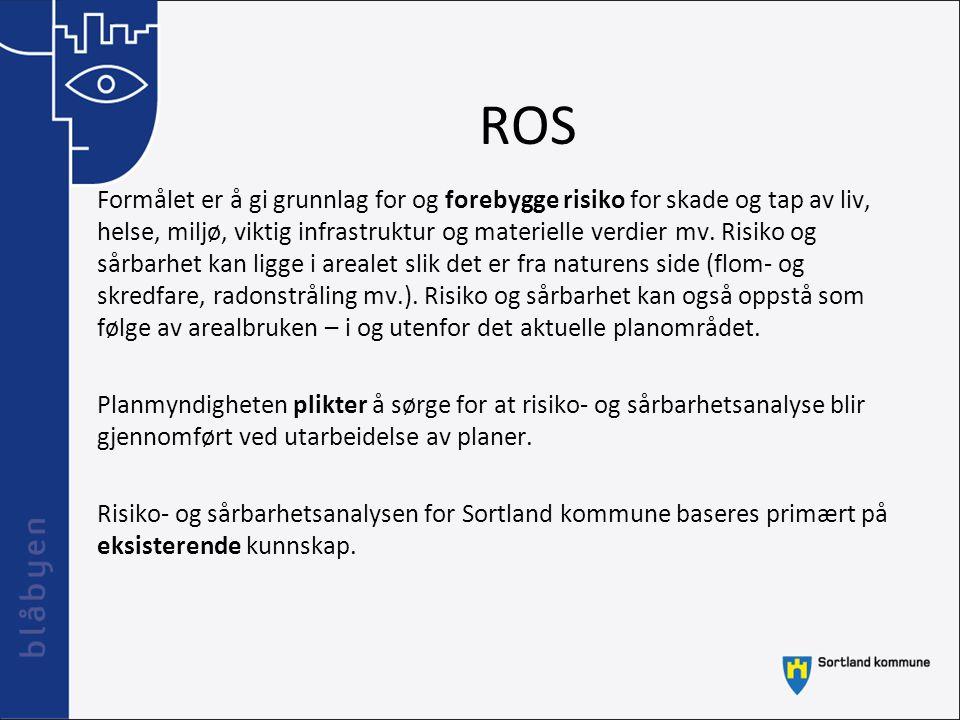 ROS Formålet er å gi grunnlag for og forebygge risiko for skade og tap av liv, helse, miljø, viktig infrastruktur og materielle verdier mv. Risiko og