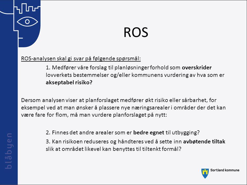 ROS ROS-analysen skal gi svar på følgende spørsmål: 1. Medfører våre forslag til planløsninger forhold som overskrider lovverkets bestemmelser og/elle