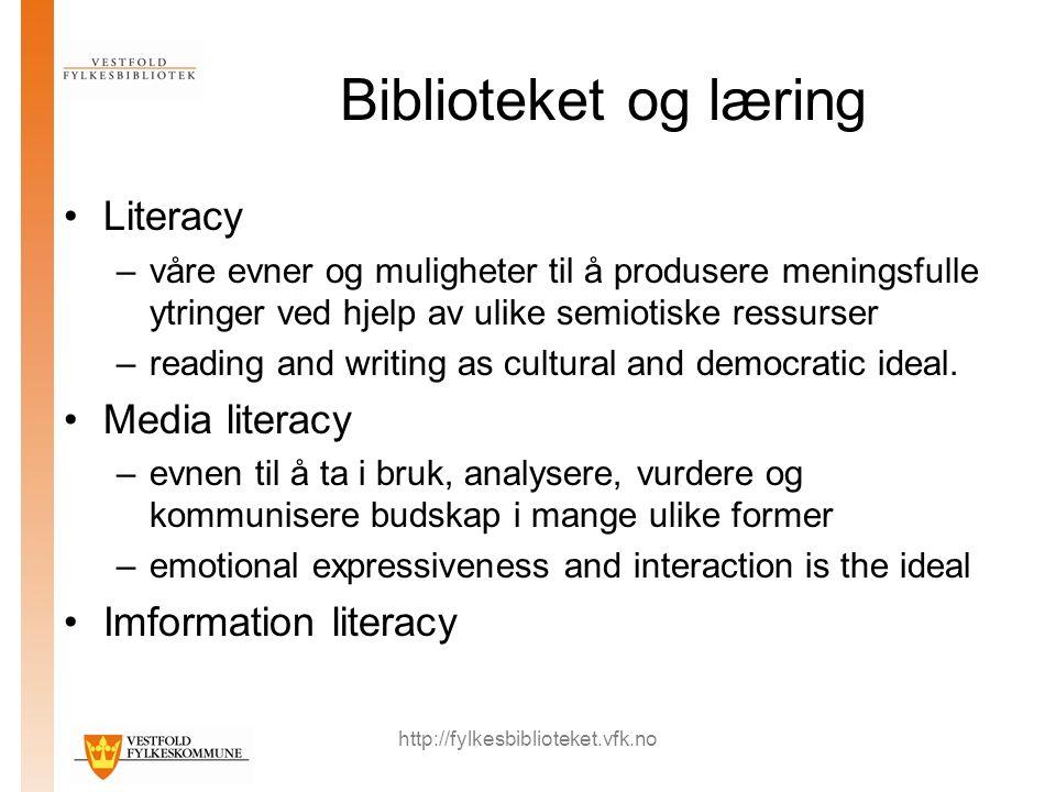 http://fylkesbiblioteket.vfk.no Biblioteket og læring Literacy –våre evner og muligheter til å produsere meningsfulle ytringer ved hjelp av ulike semiotiske ressurser –reading and writing as cultural and democratic ideal.