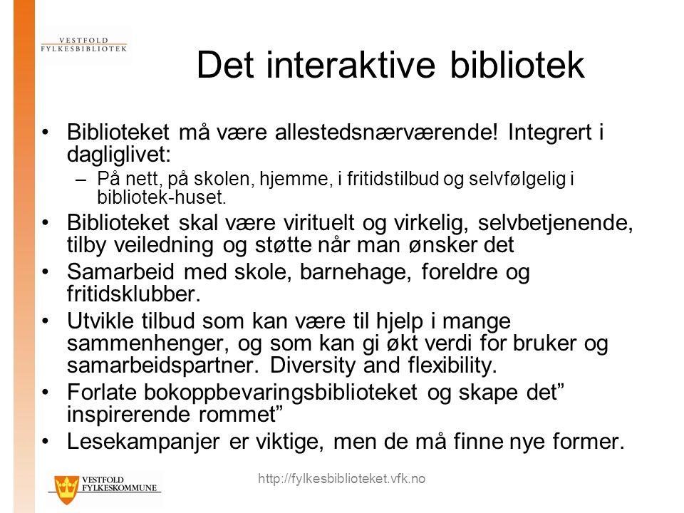 http://fylkesbiblioteket.vfk.no Det interaktive bibliotek Biblioteket må være allestedsnærværende.