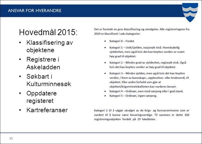 11 Hovedmål 2015: Klassifisering av objektene Registrere i Askeladden Søkbart i Kulturminnesøk Oppdatere registeret Kartreferanser