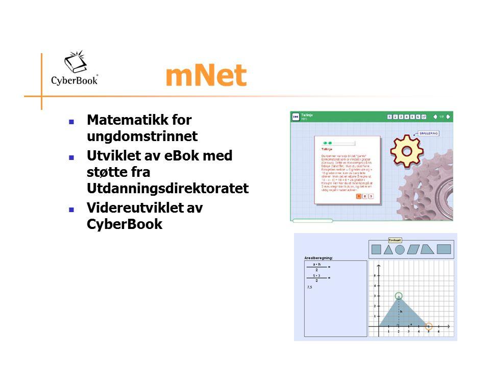 mNet Matematikk for ungdomstrinnet Utviklet av eBok med støtte fra Utdanningsdirektoratet Videreutviklet av CyberBook