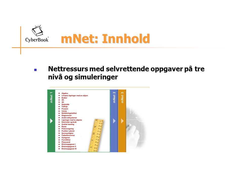 mNet: Innhold mNet: Innhold Nettressurs med selvrettende oppgaver på tre nivå og simuleringer