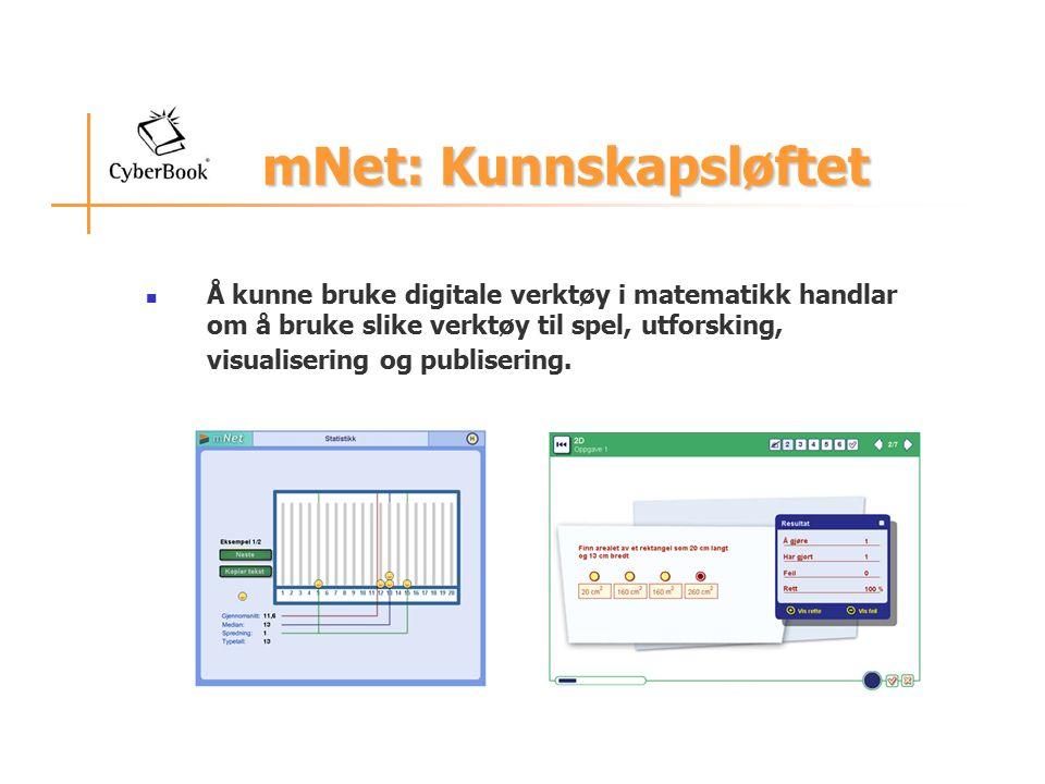 mNet: Kunnskapsløftet mNet: Kunnskapsløftet Å kunne bruke digitale verktøy i matematikk handlar om å bruke slike verktøy til spel, utforsking, visualisering og publisering.
